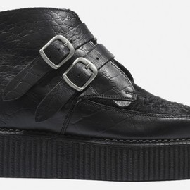 Underground - Bowie Double Sole Black Croc Leather Black Pony