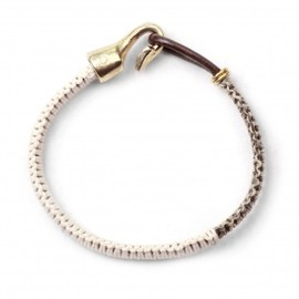 Lulu Frost - COBRA LEATHER BRACELET - SALT/PEPPER WITH BRASS