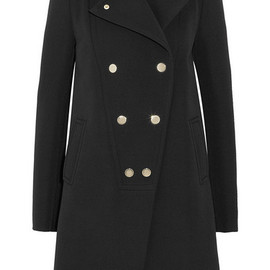GIVENCHY - Black double-breasted wool coat with gold bars