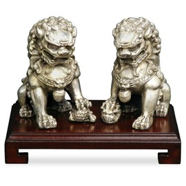 ChinaFurnitureOnline - Hand Forged Silver Chinese Foo Dogs