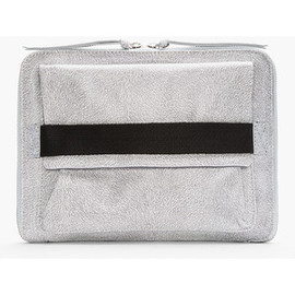 MM6 MAISON MARTIN MARGIELA - Grey Leather Fur-Embossed Clutch