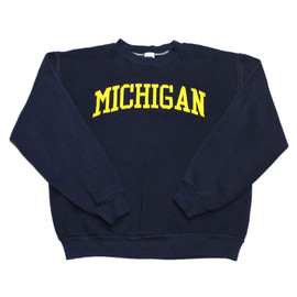 VINTAGE - Vintage 90s Russell Athletic Michigan College Crewneck Sweatshirt Made in USA Mens Size Medium