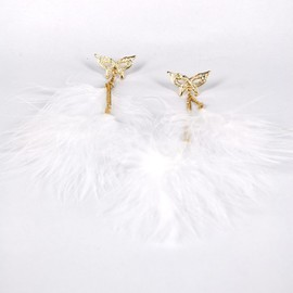 alanatt - Golden Tone Mask and White Feather Drop Earrings