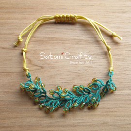 satomicrafts - Bracelet, Wonder Flower_single (blue green&yellow)