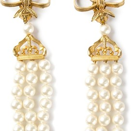 CHANEL - CHANEL VINTAGE - bow detail string pearl clip on earrings 4