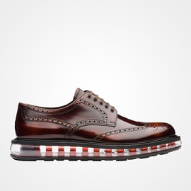 PRADA - Brushed calf leather laced derby shoe