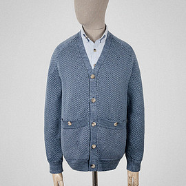 S.E.H KELLY - Cardigan in mid and light blue 3 ply cotton