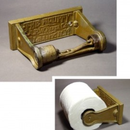 """1900-10's  """"Rustic"""" Wooden Country Toilet Paper Holder"""