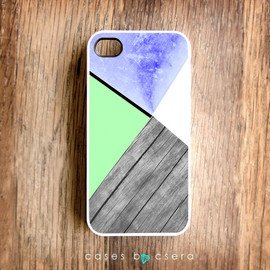casesbycsera - Unique iPhone Case, Wood iPhone 4 Case, Neon Color Case, Mint Color Cell Phone Case Geometric Case, Limited Edition Design iPhone