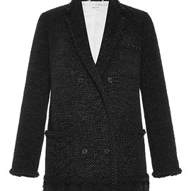 THOM BROWNE - FW2015 Double Breasted Chenille Ribbon Tweed Sack Jacket