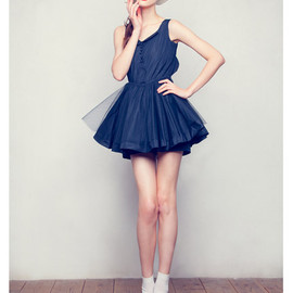 Honey mi Honey - No-sleeve tulle taffeta one-piece