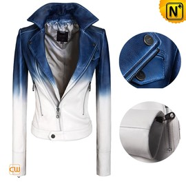 CWMALLS - Cropped Blue/White Leather Jacket CW608335 - CWMALLS.COM