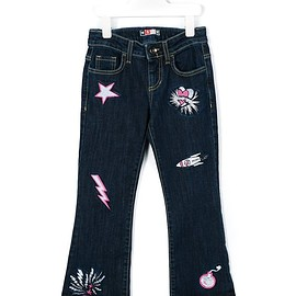 Msgm Kids - patch detail flared jeans