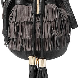 See by Chloé - Vicki medium fringed textured-leather and suede bucket bag