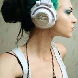 hair and headphones