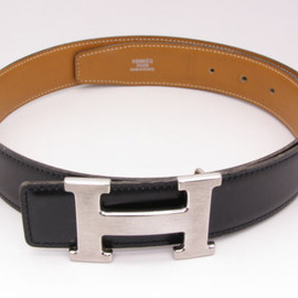 HERMES - Silver H black Belt
