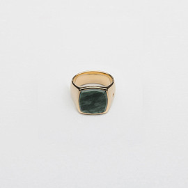 Tom Wood - The Cushion Gold Green Marble Ring