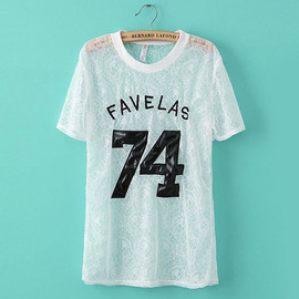 Embroidery Letter Number Patterns See Through Lace T Shirt Top