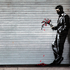 Banksy - Man With Flowers