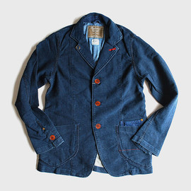 Anachronorm - Indigo Knit Like Work Lapel Jacket