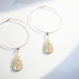 Ostara - 14kg Teardrop Filigree Hoop Earrings