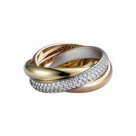 Cartier - Trinity Ring 3Gold with paved diamonds