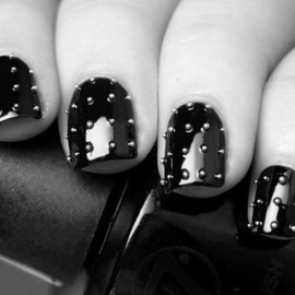 Black studded nails