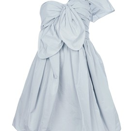 CARVEN - Light grey one shouldered taffeta dress