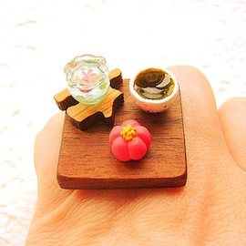 SouZouCreations - Kawaii Japanese Food Ring Green Tea Wagashi Miniature Food Jewelry Traditional