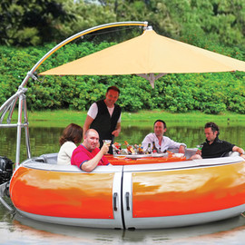 Hammacher Schlemmer - The Barbecue Dining Boat