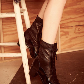 Black Bi-Fabric Ankle Boots