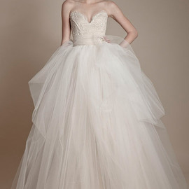 ersa atelier bridal 2013 strapless tulle gown off white beige ivory