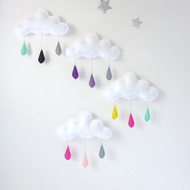 the butter flying - Cloud mobile.... Rain of colors....Mint-Pink-Yellow...drops