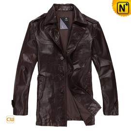 CWMALLS - Designer Brown Leather Trench Coat CW871730 - CWMALLS.COM