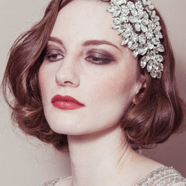 Wedding headband - 'Hattie' rhinestone diamante cap style deco Gatsby bridal headpiece