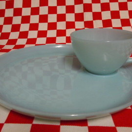 Jadeite Magic Gallery - Fire King Turquoise Blue Snack Set  #17