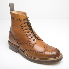 Grenson - Grenson Fred Tan - Fred Tan calf winter brogue boot leather sole, storm welted heavy punched. Great with distressed jean rolled at bottom & tweed jkt, and pocket square