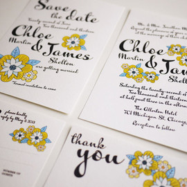 Luulla - Yellow Daisy Bold Script - Modern Wedding Invitation Suite - (PRINTABLE) - Set of 4
