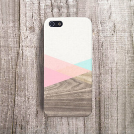 bycsera - MINT iPhone Case Wood Print Accessories Pastel Cute iPhone Cover iPhone 4s Case Color block