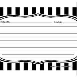 Bella Cupcake couture - striped recipe cards  Black/white