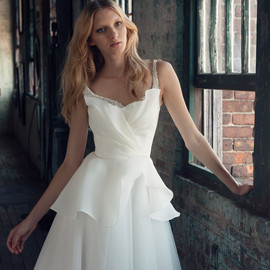 rebecca wedding dress embellished straps bodice close up crumbcatcher neckline