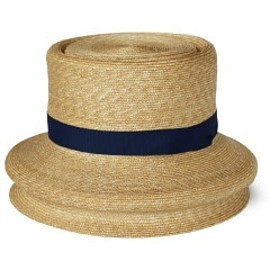 PHINGERIN - Lamp Shade Hat (natural/navy ribbon)