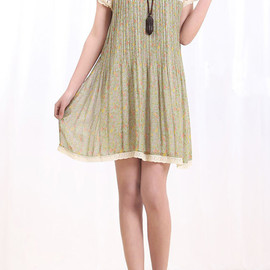 dress - Flowers Blooming/ Lovely doll Floral pleated long shirt dress