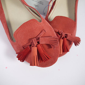 elehandmade - The Loafers Shoes in Geranium Red Suede and Matching Red Tassels - Handmade Leather Shoes