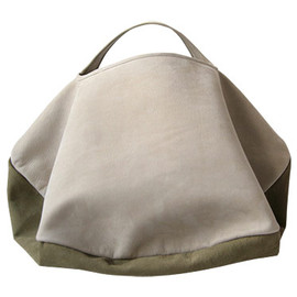 カンダミサコ - circle bag MIDI 6:LIGHT GRAY x KHAKI