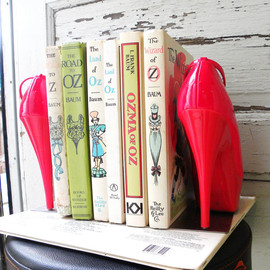 giddyspinster  - bookends repurposed cherry red high heel platform pumps
