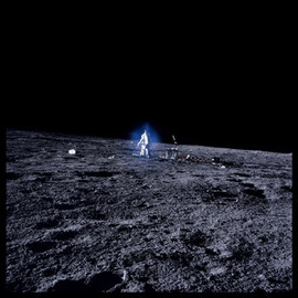 MICHAEL LIGHT - Alan Bean Surrounded by Blue Aura Thought to be Water-Vapor Ice Crystals; Photographed by Charles Conrad, Apollo 12, November 14-24, 1969 #55, 1999 from Full Moon