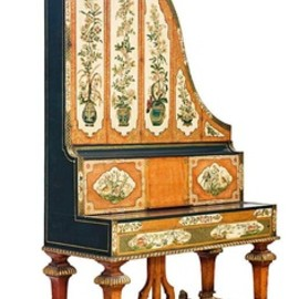 A rare painted English 'Giraffe' grand piano