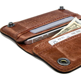 Portel - RETROMODERN aged leather iPhone wallet - - LIGHT BROWN