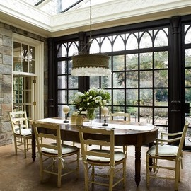 stone interiors for the sunroom dining